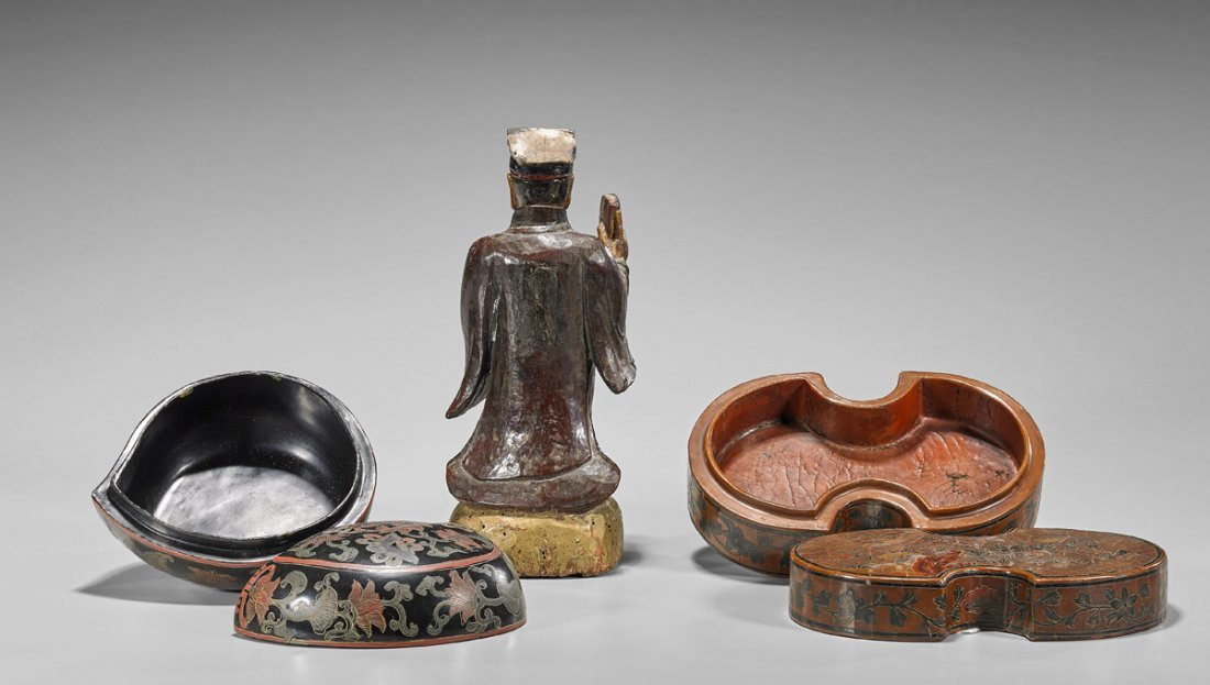 Three Chinese Lacquered Items: Boxes & Figure - 2