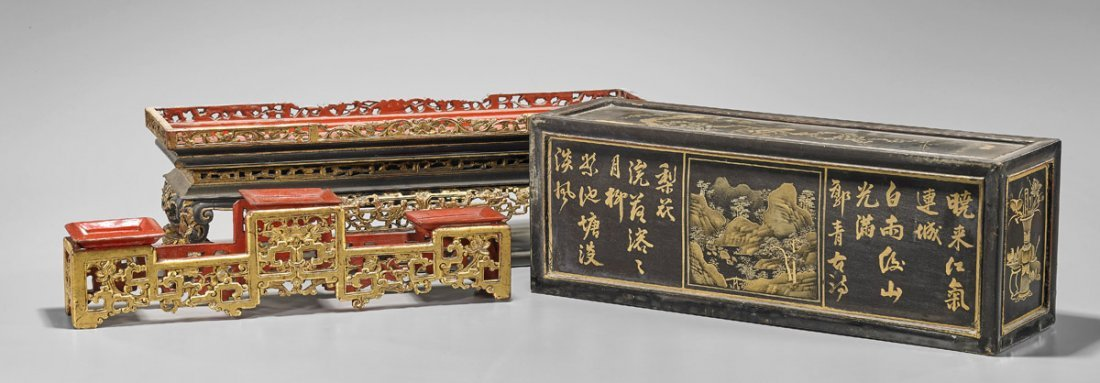 Antique Chinese Gilt Lacquer Box - 3