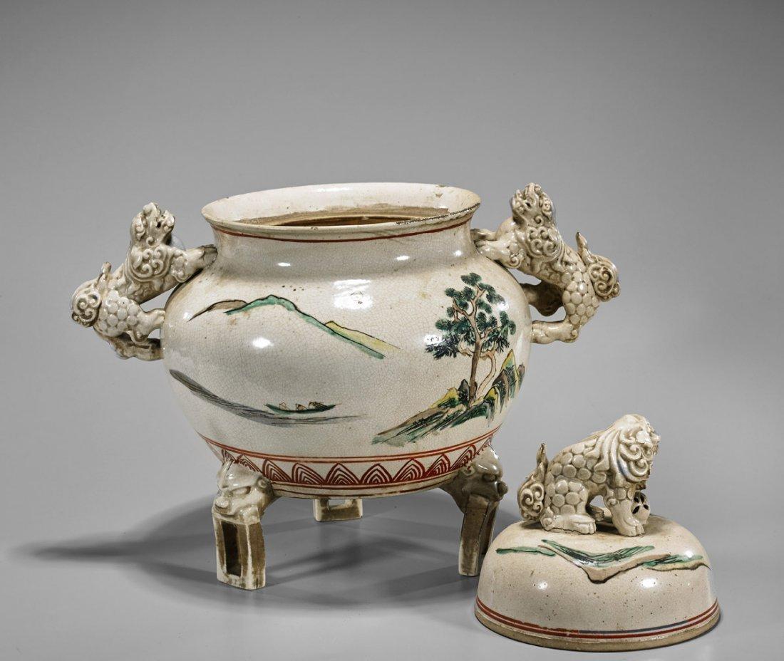 Antique Japanese Porcelain Tripod Censer - 2