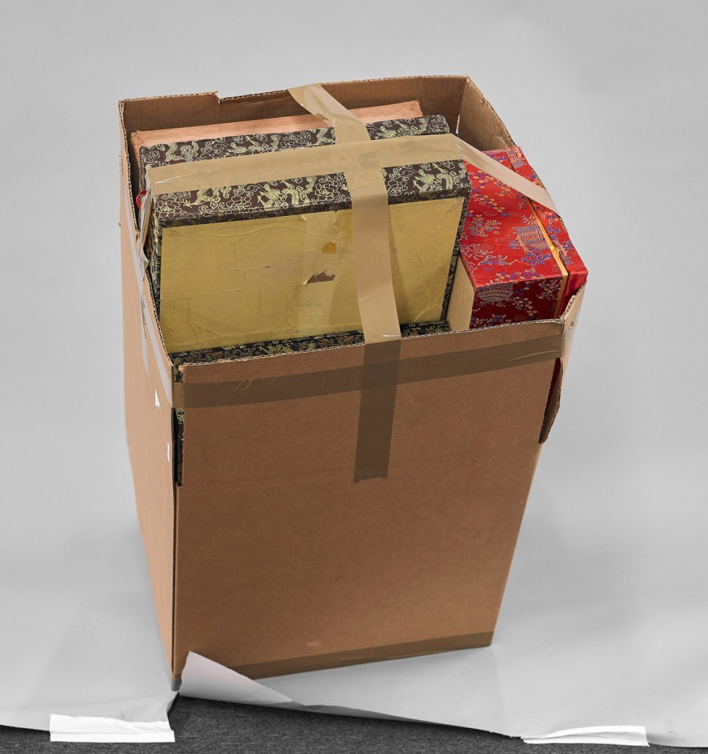 Fifteen Large Cloth Fitted Boxes