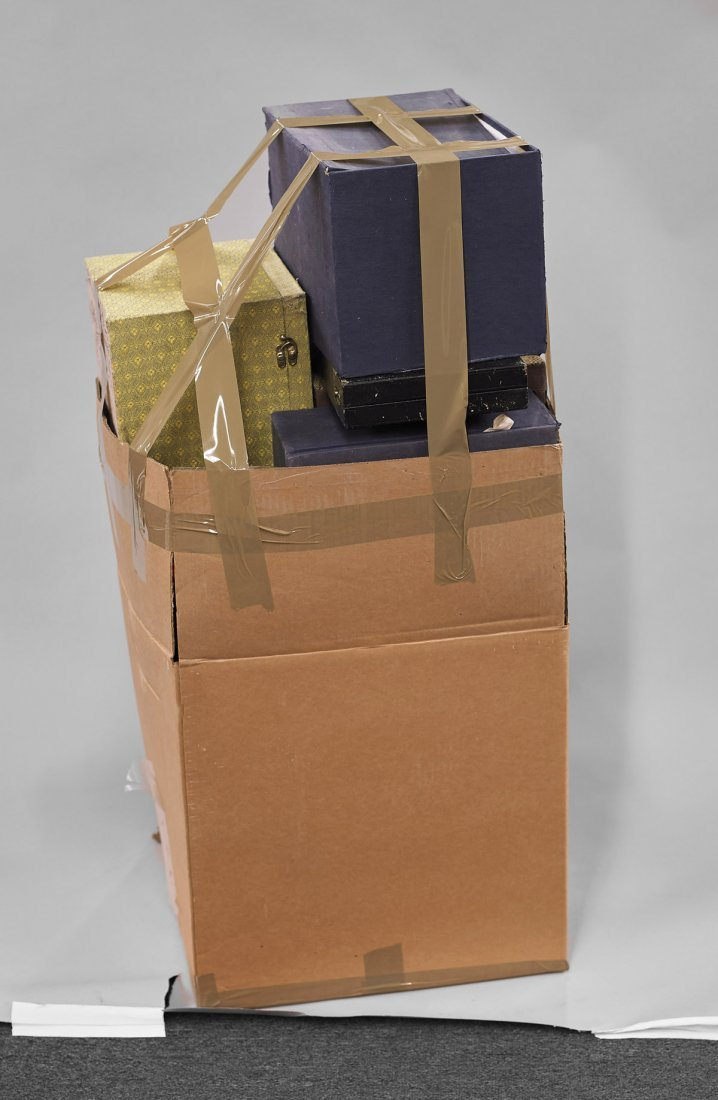 Eleven Large Cloth Fitted Boxes