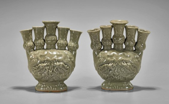Four Chinese Glazed Vessels: Celadon & Jun