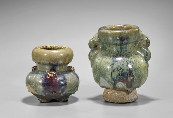 Four Chinese Glazed Vessels: Celadon & Jun - 2