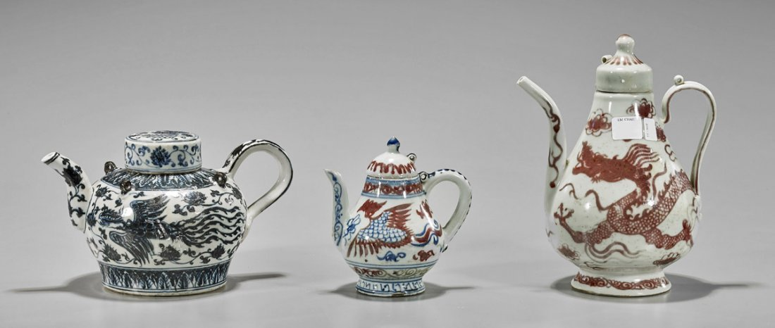 Three Chinese Porcelain Ewers
