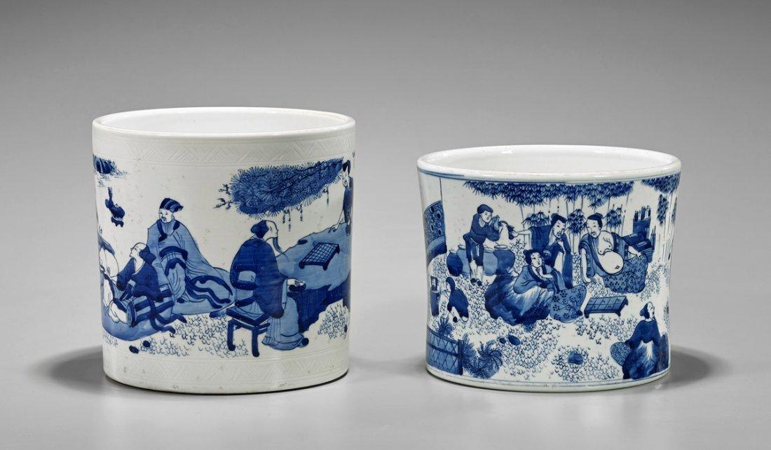 Two Chinese Kangxi-Style Porcelain Brushpots