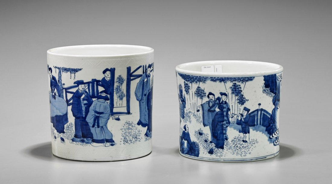 Two Chinese Kangxi-Style Porcelain Brushpots - 2