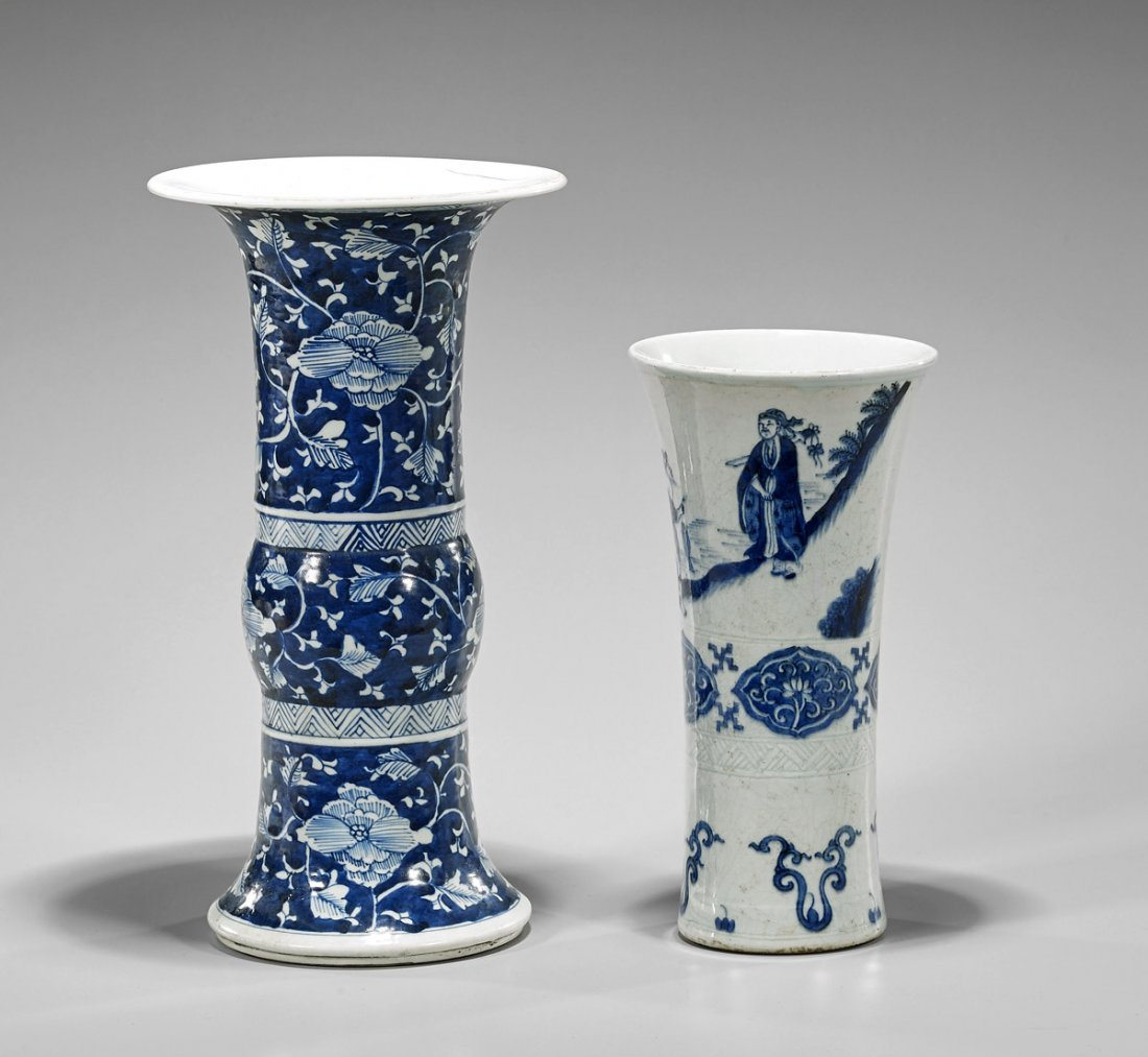 Two Chinese Porcelain Gu Vases