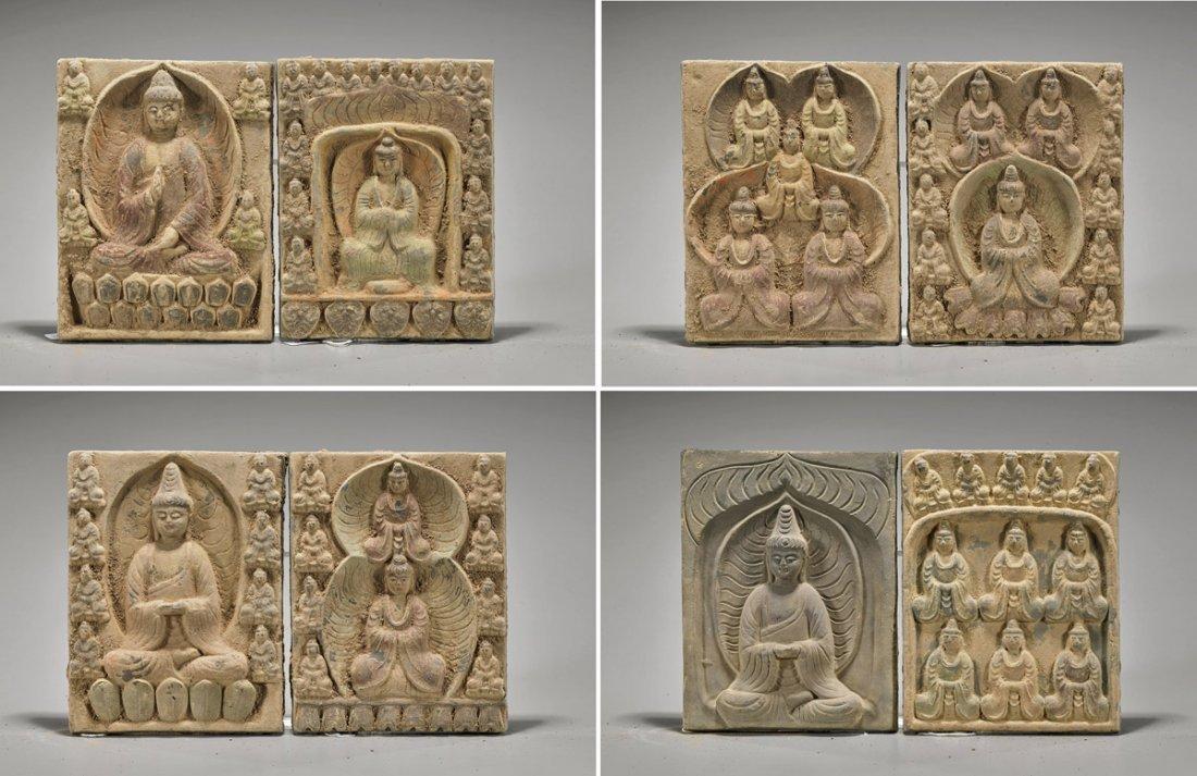 Eight Han-Style Pottery Tiles: Buddhas