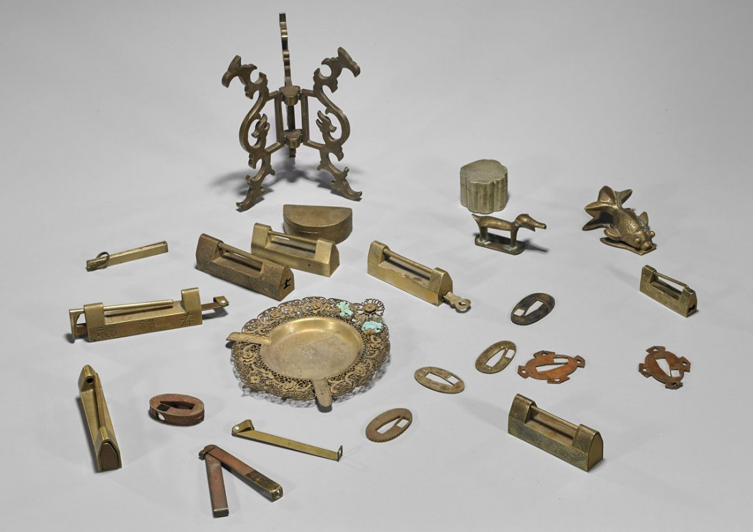 Chinese & Japanese Brass Items: Locks & Decorations