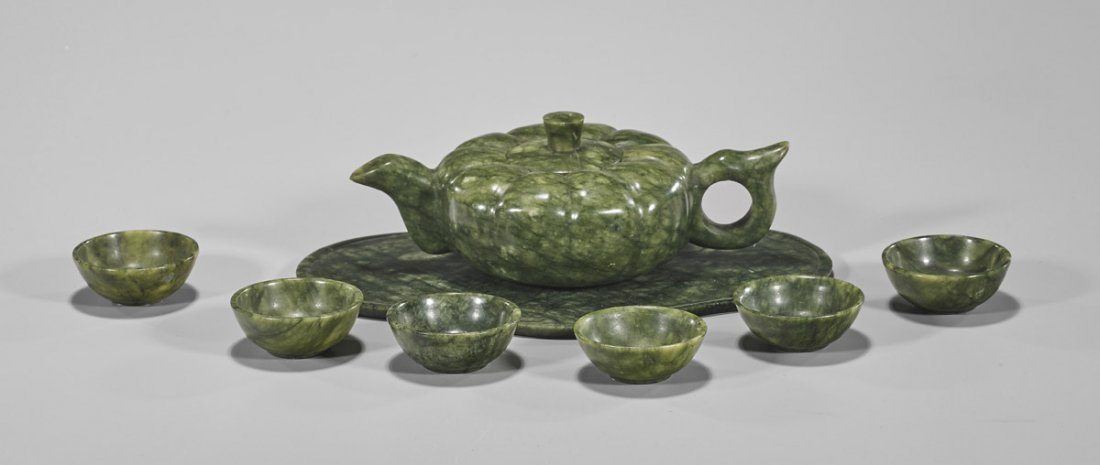 Chinese Carved Hardstone Tea Set