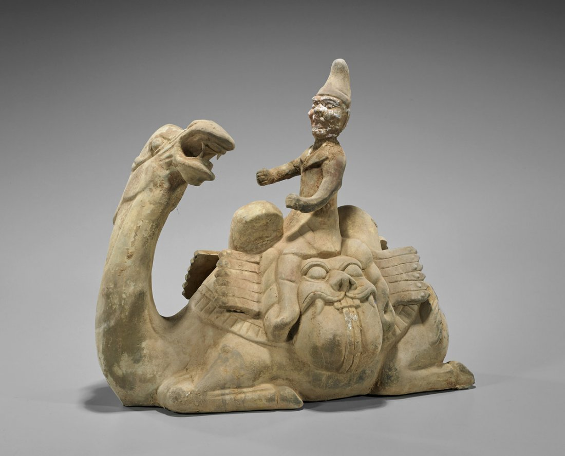 Tang-Style Pottery Camel & Rider