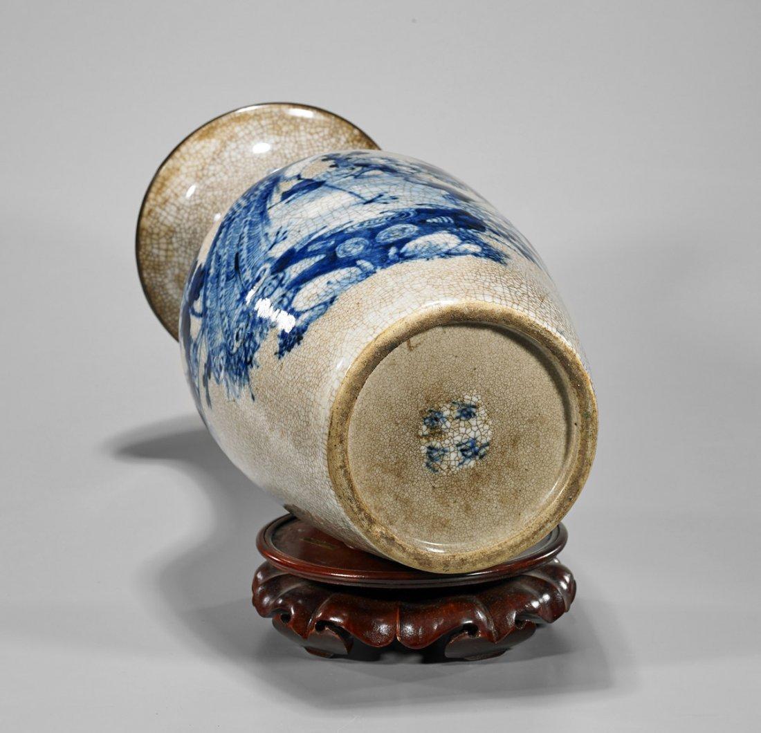 Tall Antique Chinese Blue & White Crackle Glazed Vase - 3