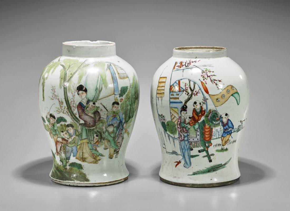 Two Antique Chinese Enameled Porcelain Jars: Beauties &