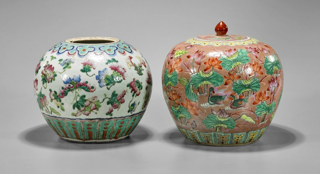 Two Old Chinese Famille Rose Ginger Jars