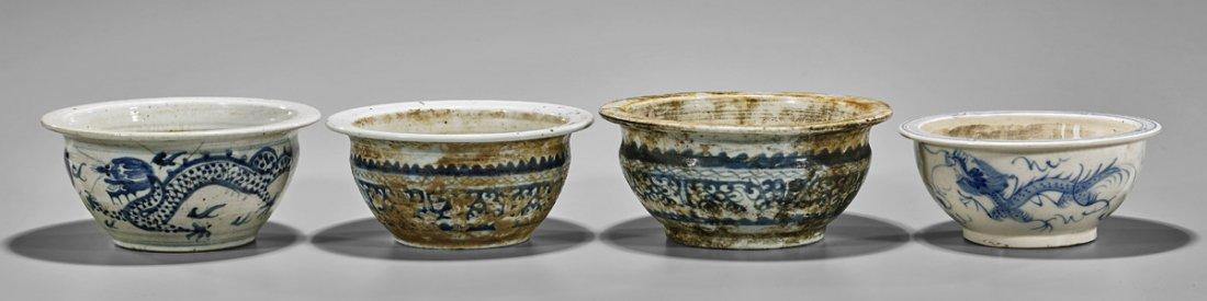 Four Antique Chinese Blue & White Porcelain Bowls