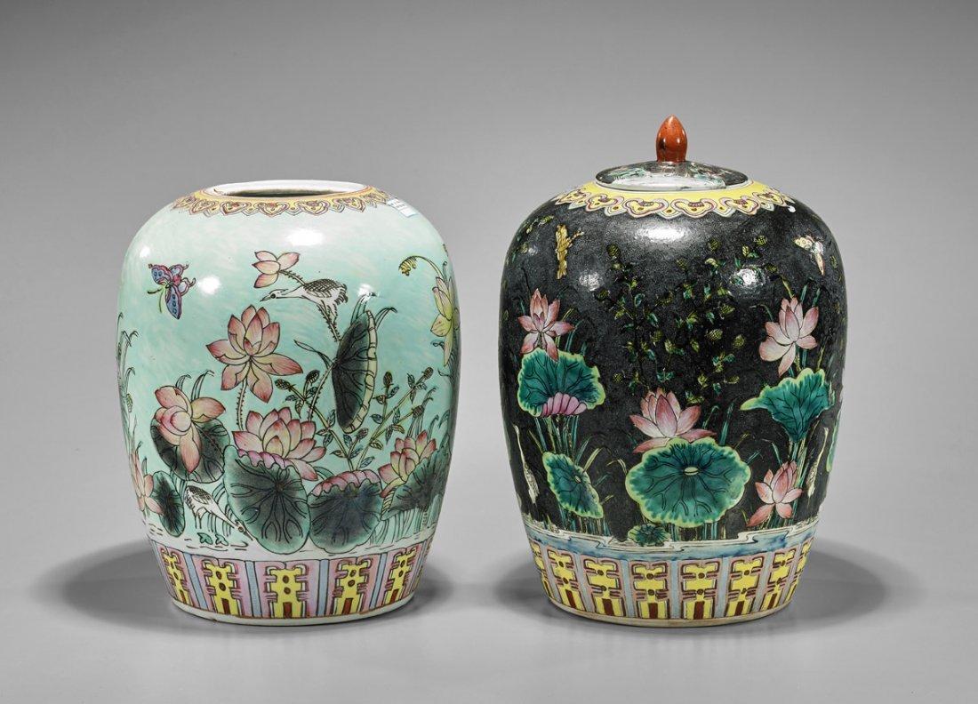 Two Chinese Enameled Porcelain Ginger Jars