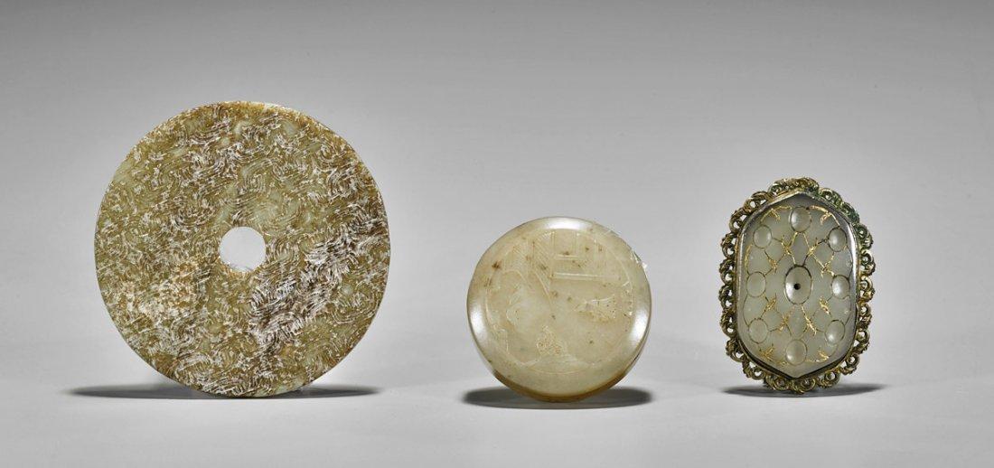 Three Chinese Jade & Hardstone Carvings