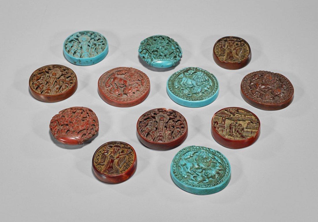 "Twelve Chinese Carved ""Cinnabar"" & ""Turquoise"" Pendants"