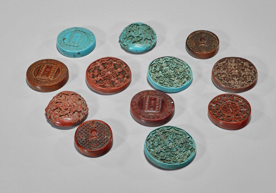 "Twelve Chinese Carved ""Cinnabar"" & ""Turquoise"" Pendants - 2"