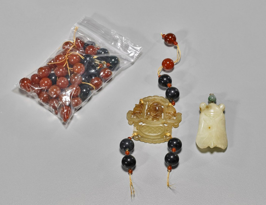 Two Antique Hardstone Pendants & Loose Beads