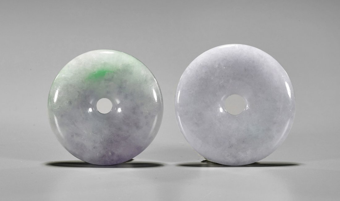 Two Chinese Carved Jadeite Bi Pendants