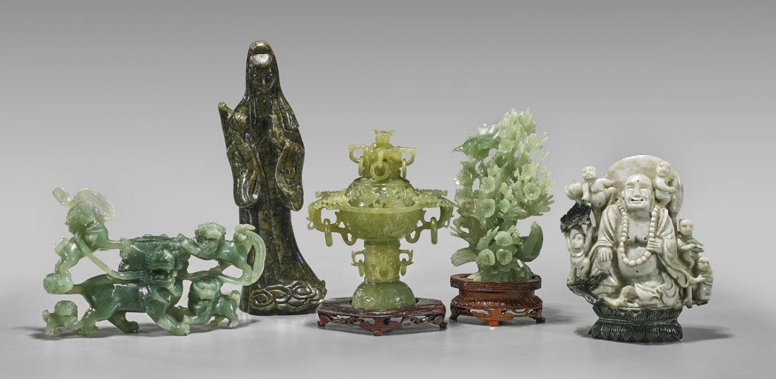 Five Chinese Carvings: Jade & Bowenite