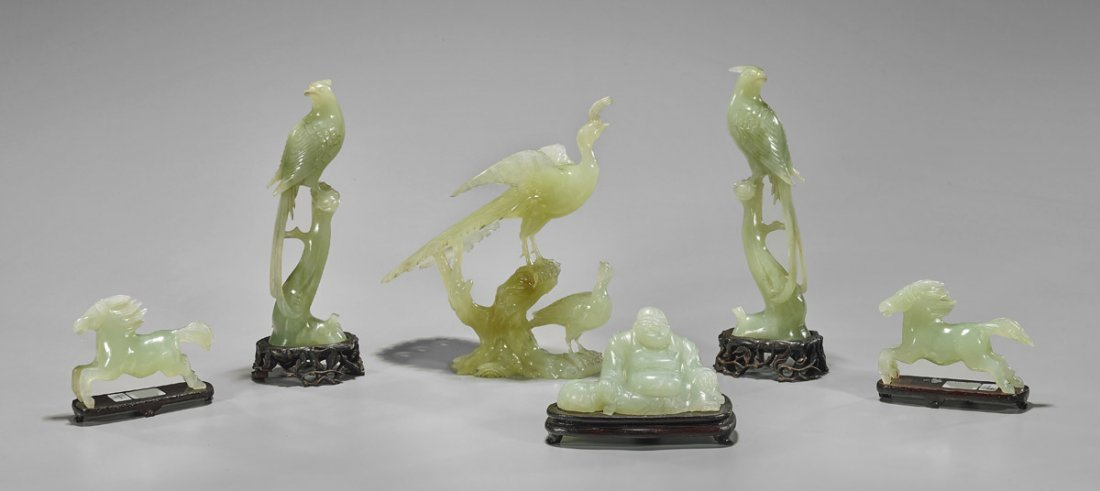 Six Chinese Bowenite Carvings: Birds, Horses & Budai