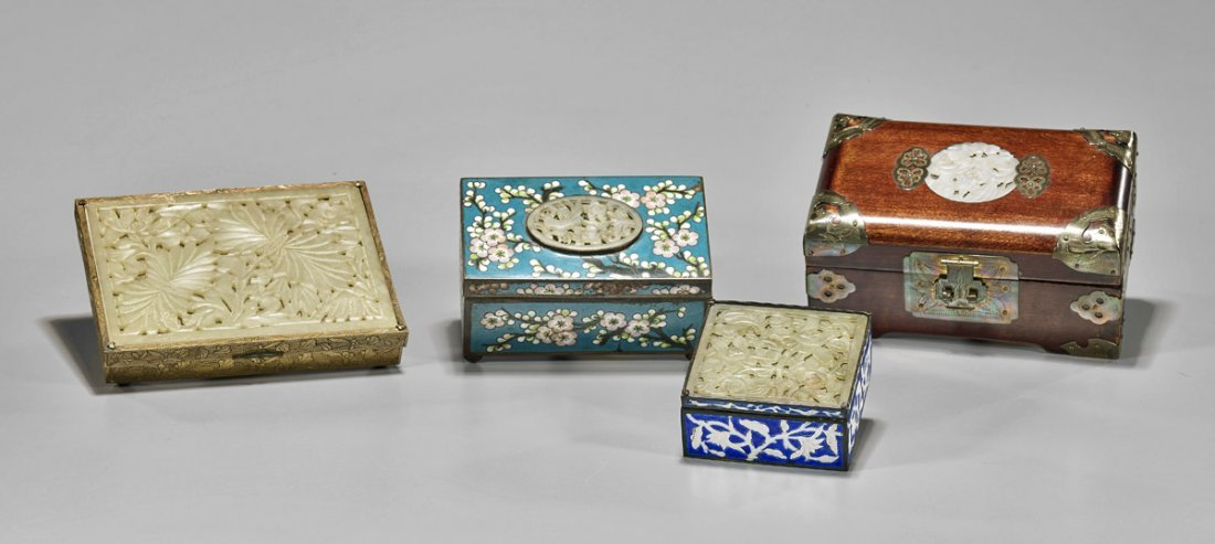 Four Old & Antique Chinese Hardstone Inlaid Boxes