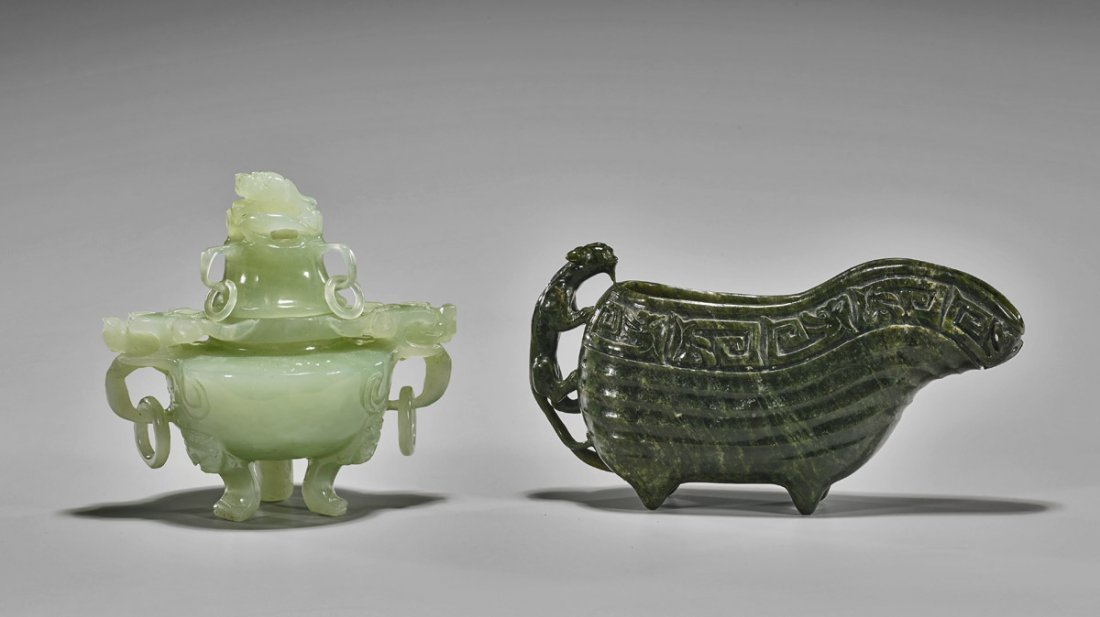 Two Chinese Carved Vessels: Hardstone & Bowenite