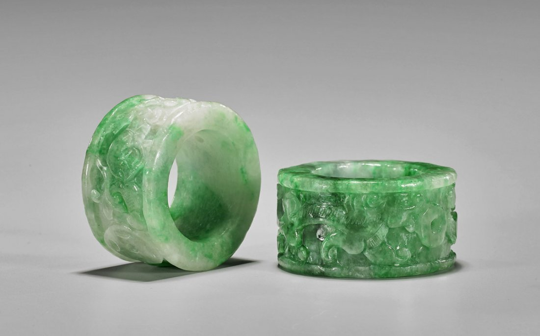 Two Large Chinese Carved Jadeite Rings