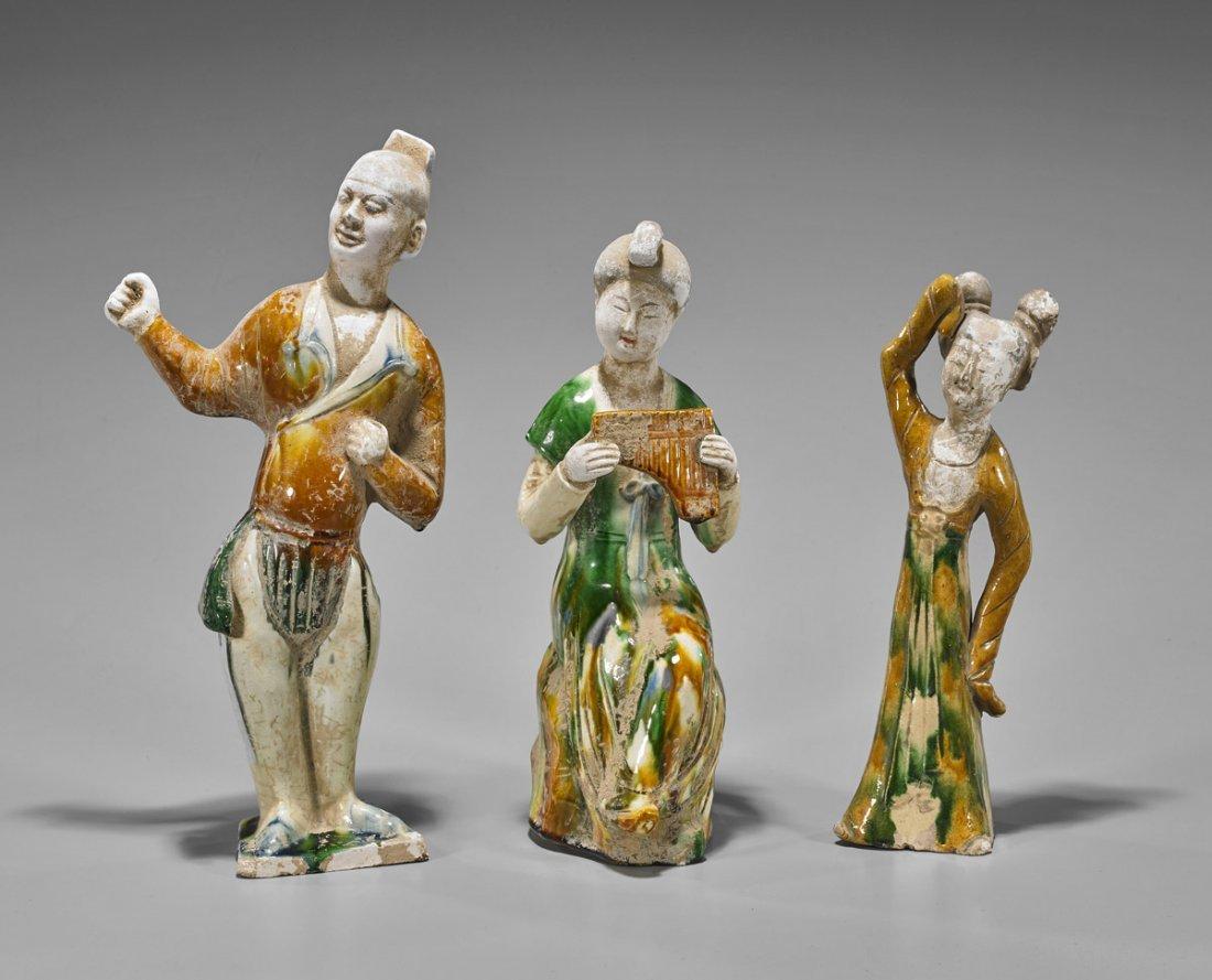 Three Tang-Style Sancai Glazed Figures