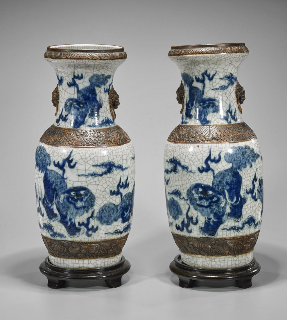 Pair Tall Antique Chinese Crackle Glazed Vases