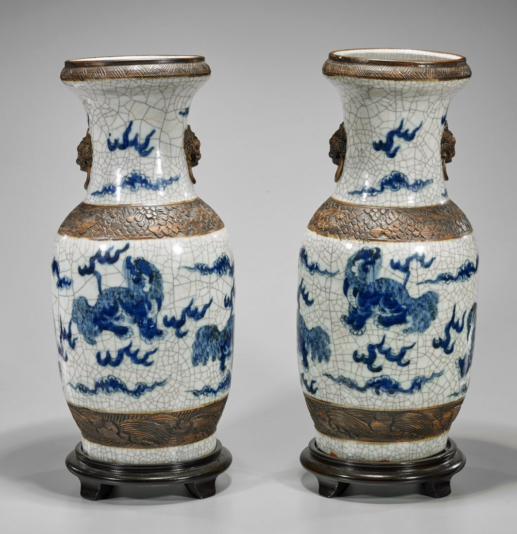Pair Tall Antique Chinese Crackle Glazed Vases - 2