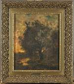 Antique Landscape Painting Attributed to Jules Dupre