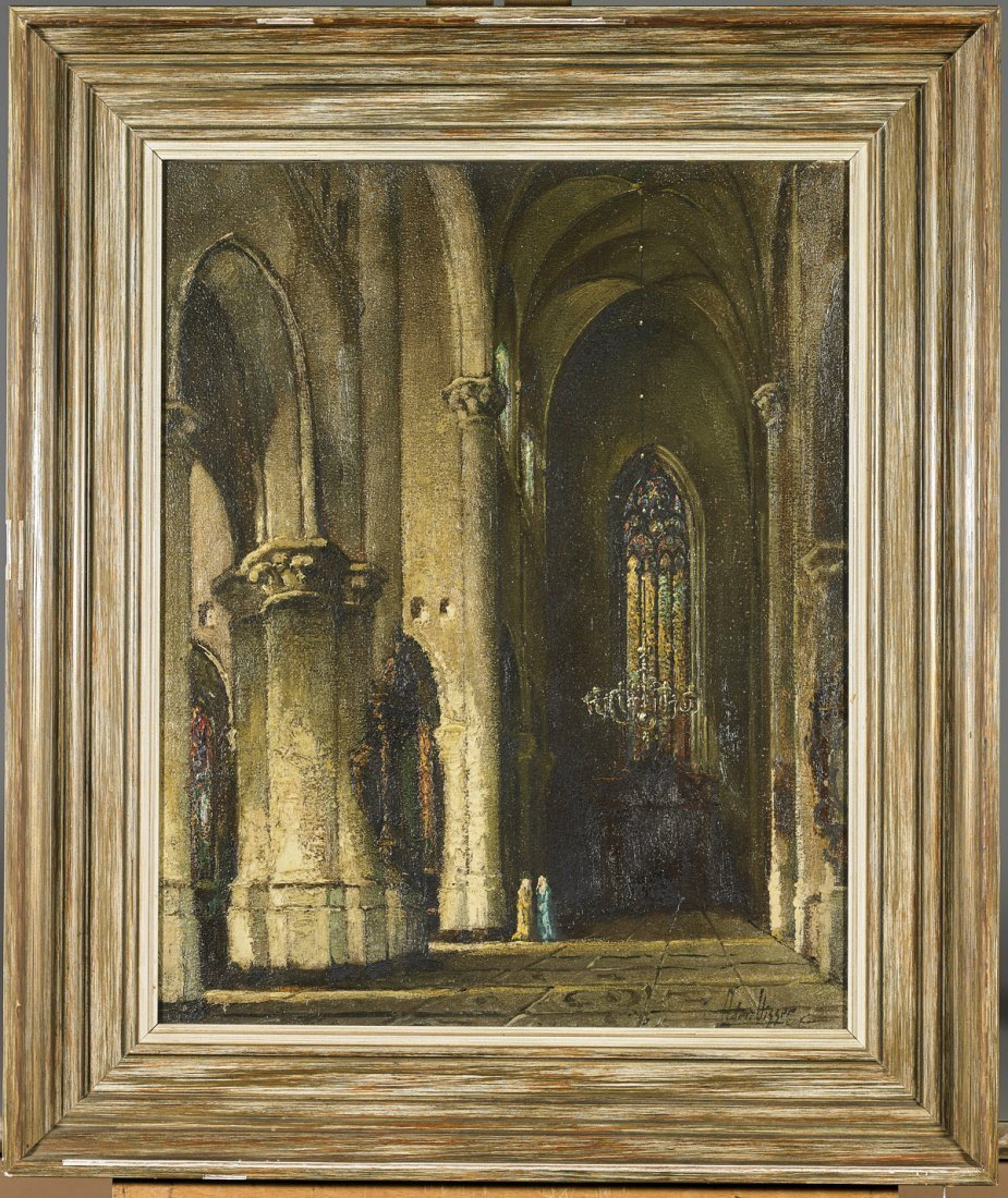 Two Antique Oil Paintings: Cathedral & St. John - 3