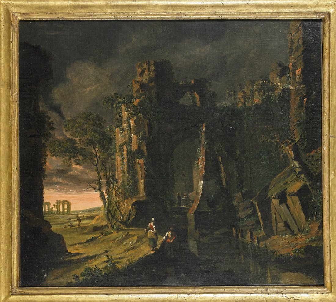 Oil on Canvas Painting: Ruins