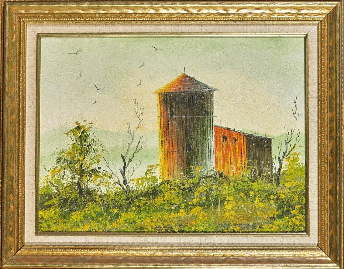 Three Oil on Canvas Paintings: Rural Scenes - 3