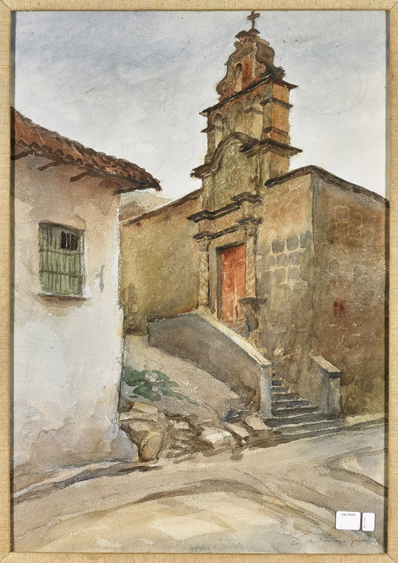 Two Signed Watercolor Paintings: Landscape & Cityscape