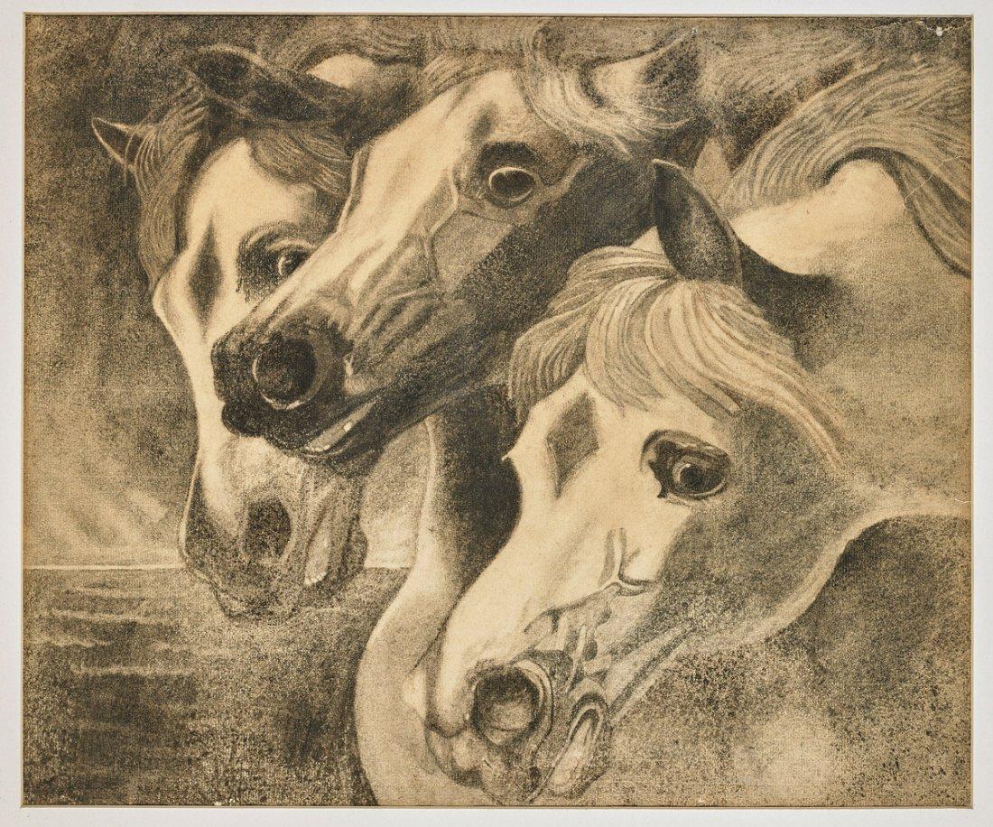 Two Framed Artworks: Horses & Bulls