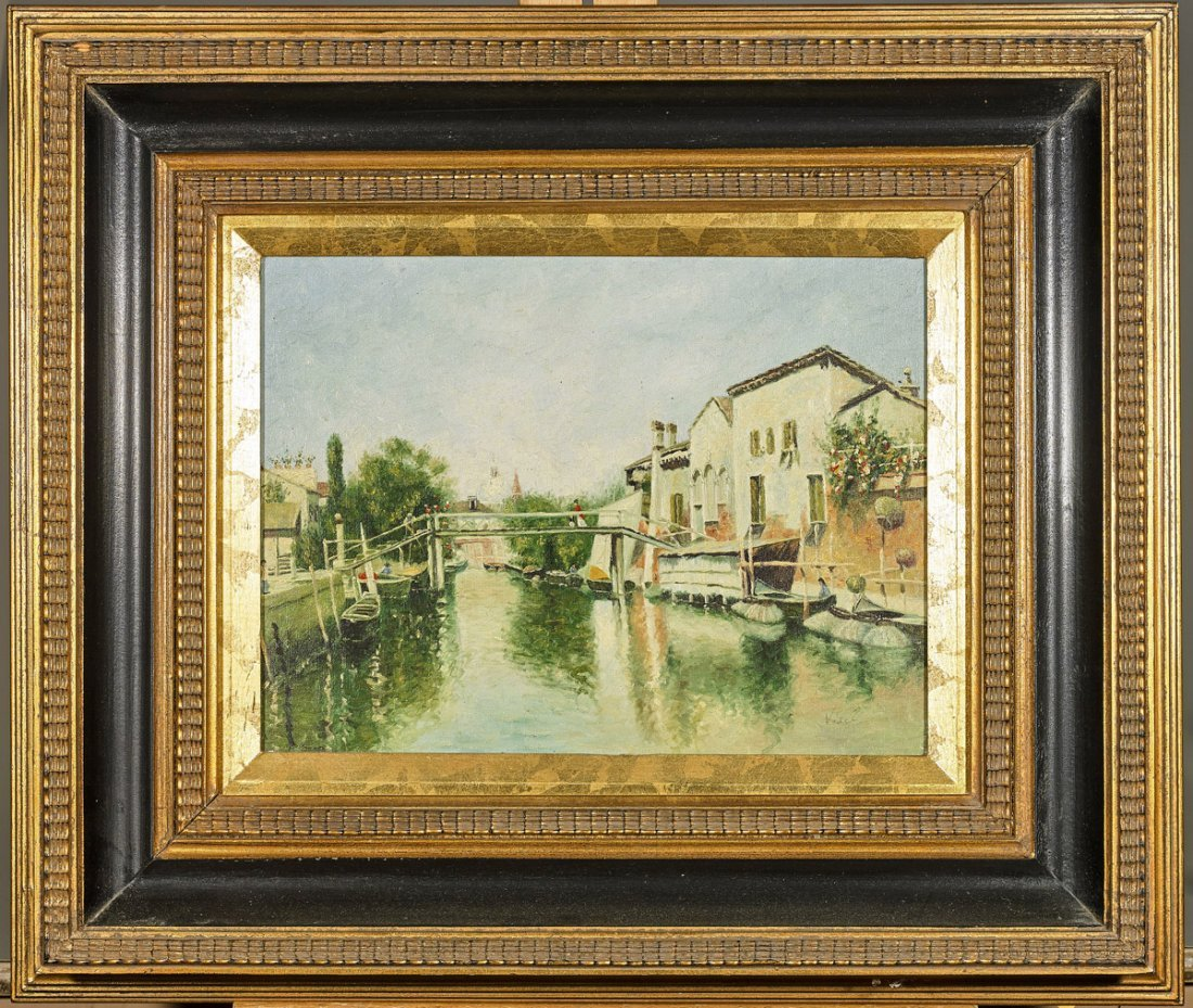 Vintage Oil Painting: Canalway & Houses
