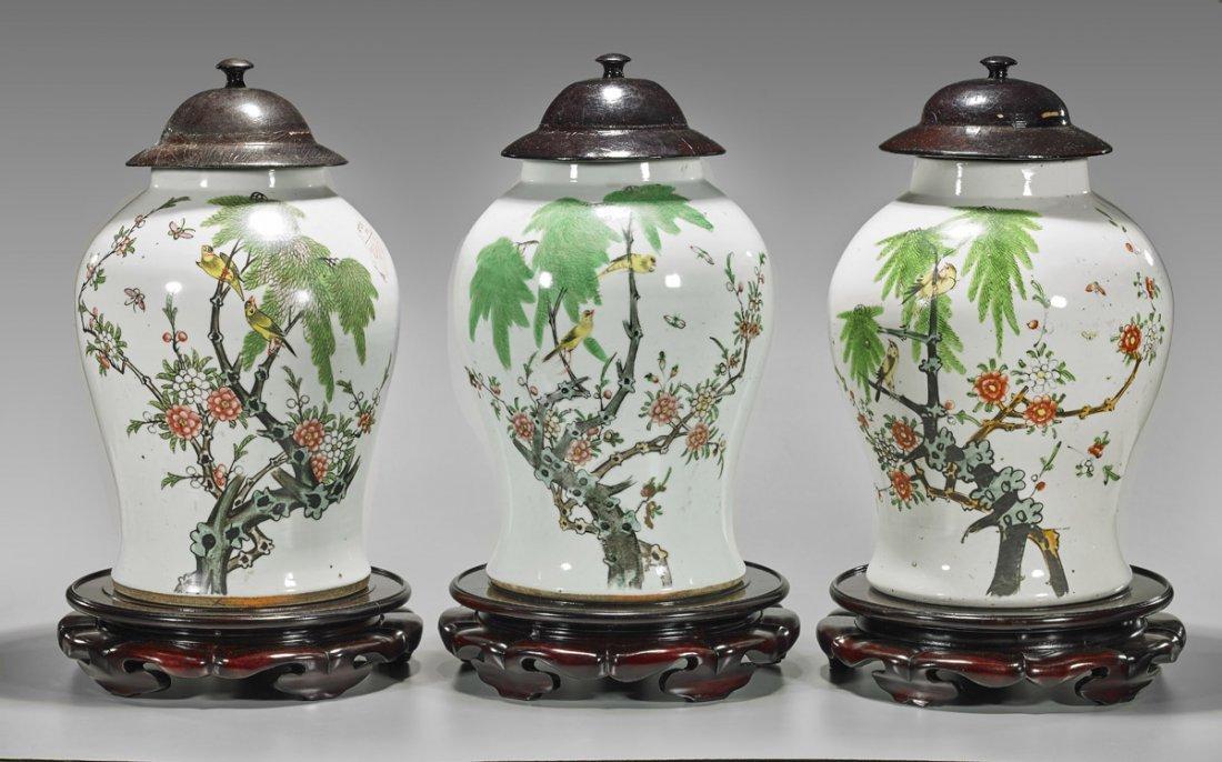 Three Large Chinese Porcelain Baluster Jars