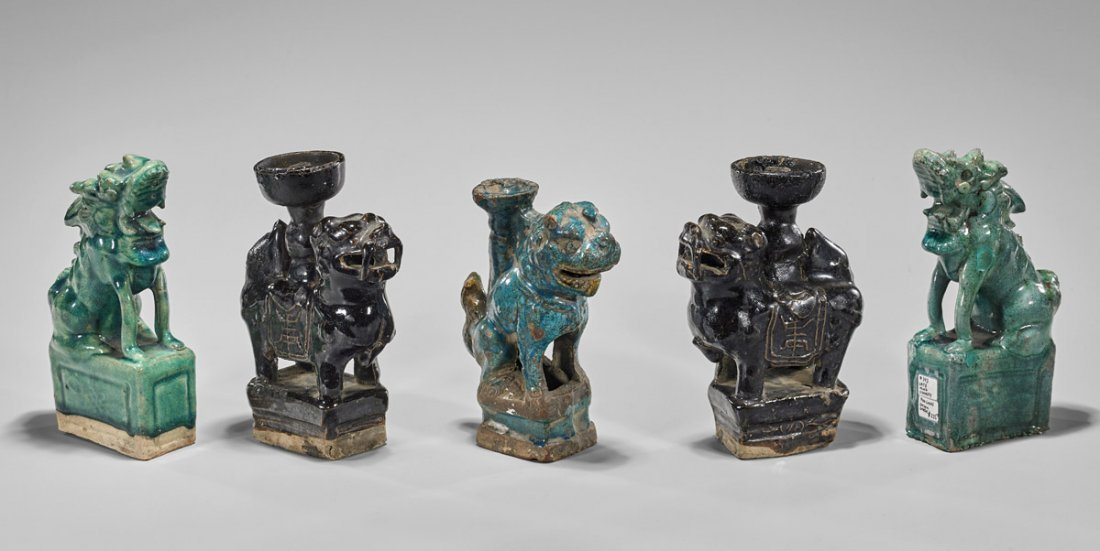 Five Ming Dynasty Glazed Pottery Lions