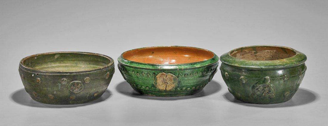 Three Late Ming Dynasty Green Glazed Bowls