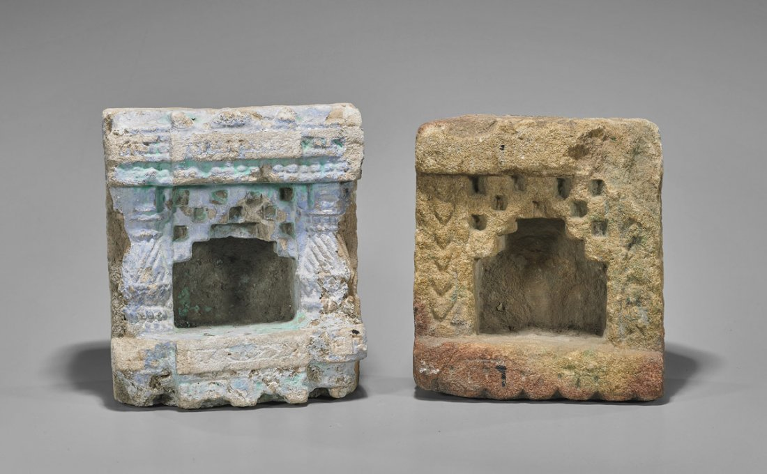 Two Antique Buddhist Carved Stone Shrines