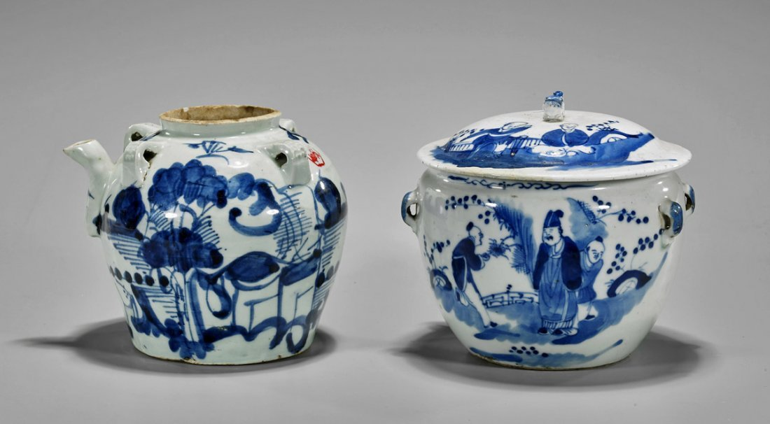 Two Antique Chinese Blue & White Porcelains