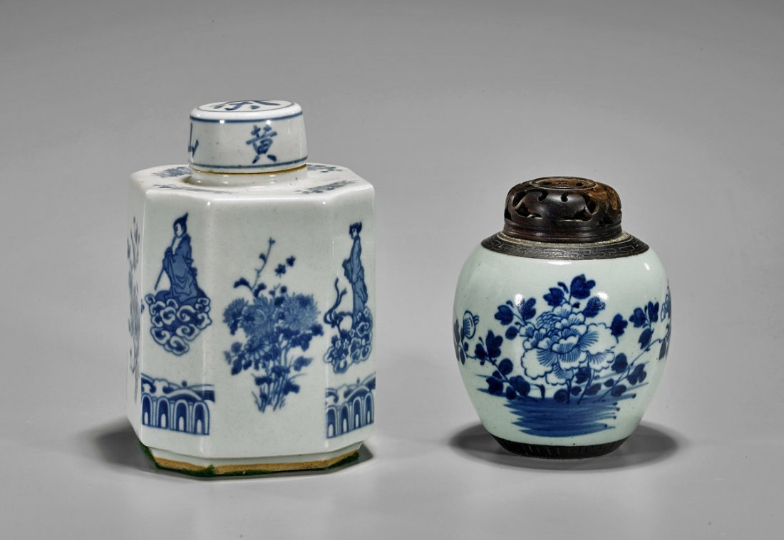 Two Antique Chinese Blue & White Porcelains: Jarlet &
