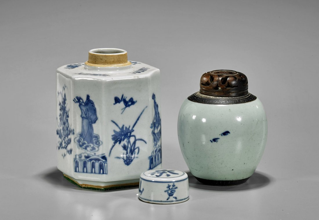 Two Antique Chinese Blue & White Porcelains: Jarlet & - 2