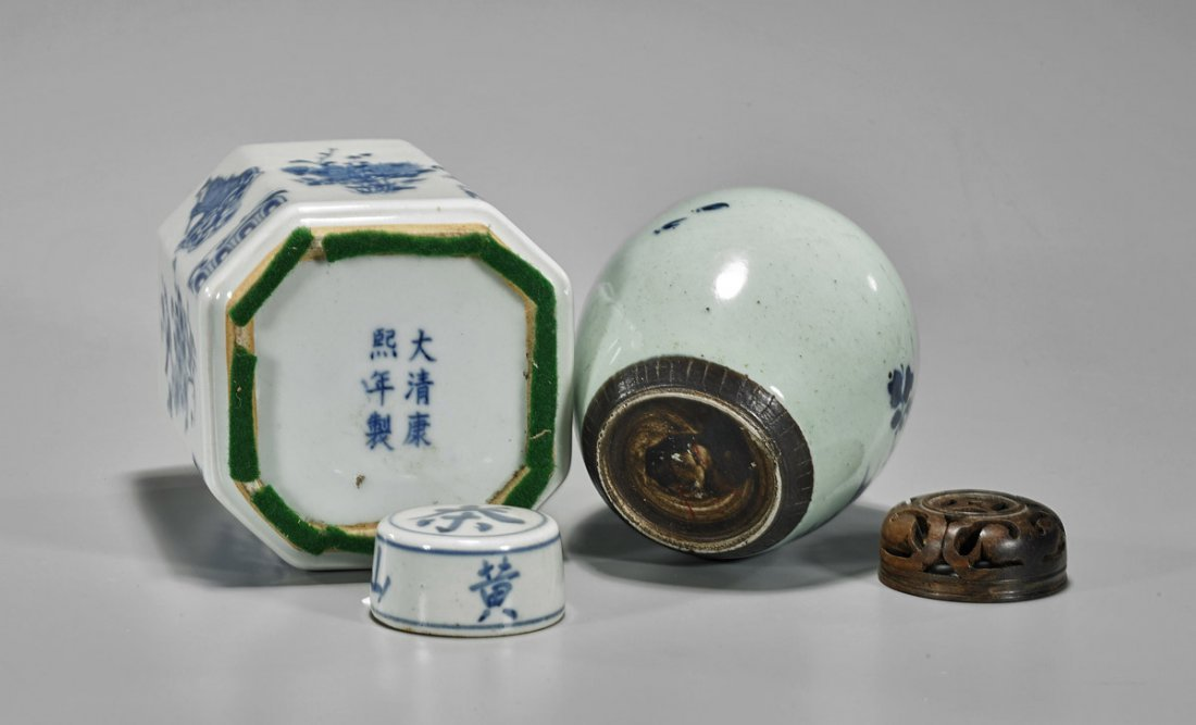 Two Antique Chinese Blue & White Porcelains: Jarlet & - 3