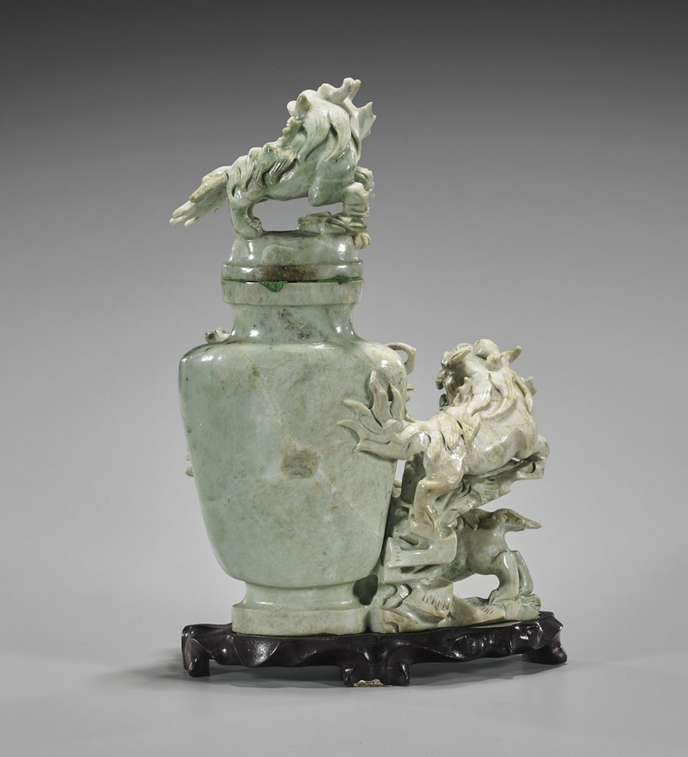 Chinese Carved Fo Lion Urn - 2