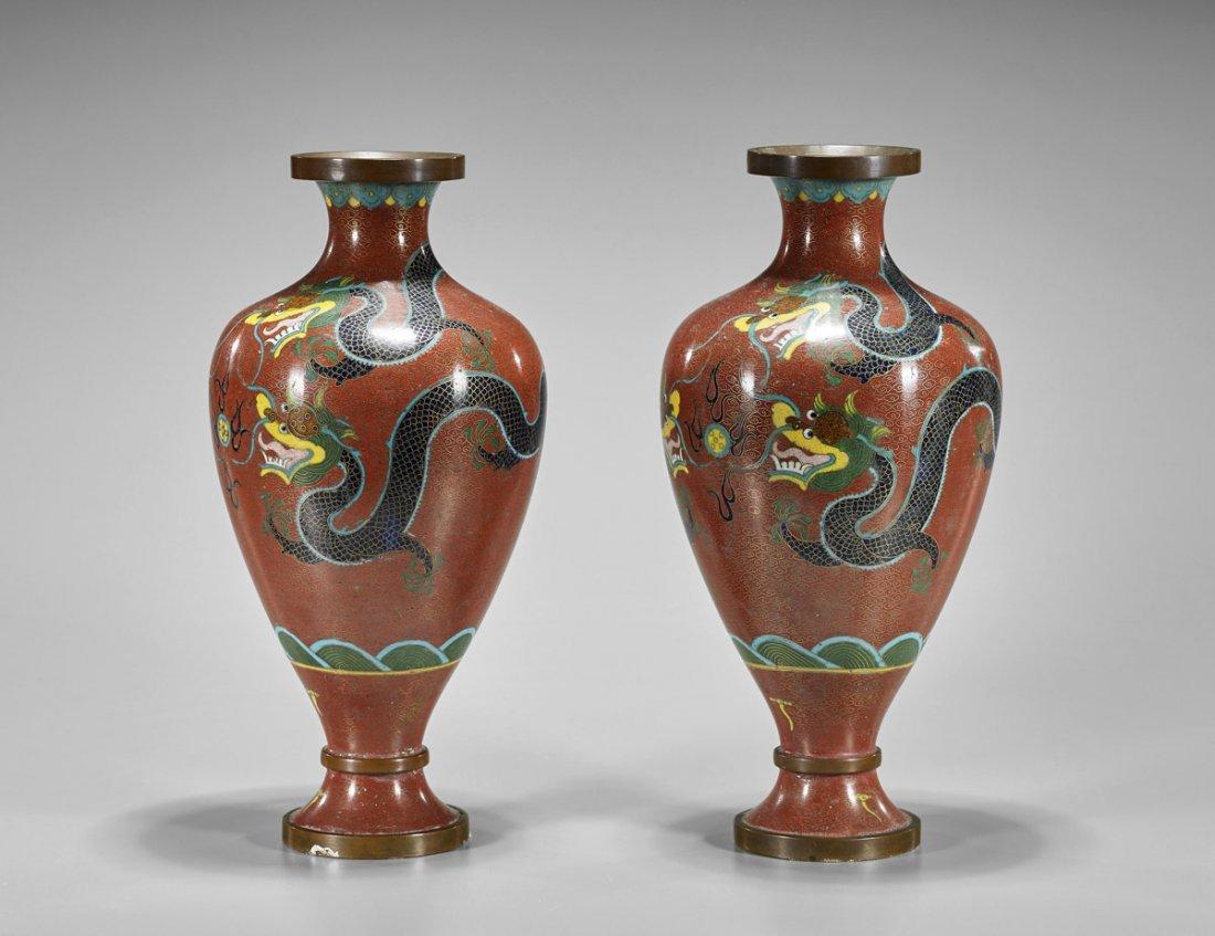 Pair Old Chinese Cloisonne Enamel Dragon Vases